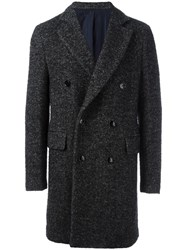 Massimo Piombo Mp Herringbone Double Breasted Coat Grey
