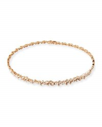 Suzanne Kalan 18K Rose Gold Diamond Baguette Choker Necklace 2.25 Tdcw