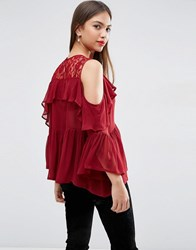 Asos Cold Shoulder Tiered Ruffle Blouse With Lace Insert Oxblood