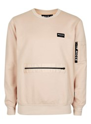 Topman Brown Nicce Sand Utility Zip Pocket Hoodie