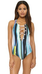 Clover Canyon Striped Eclipse One Piece Swimsuit Blue