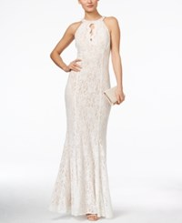 Nightway Petite Lace Keyhole Halter Gown Ivory Nude