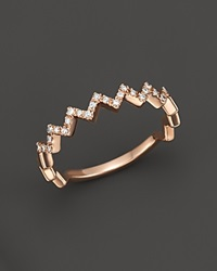 Bloomingdale's Diamond Zig Zag Ring In 14K Rose Gold .10 Ct. T.W. Pink