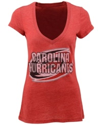 Majestic Women's Short Sleeve Carolina Hurricanes V Neck T Shirt Red