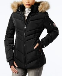 Madden Girl Faux Fur Trim Hooded Chevron Puffer Coat Black