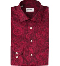 Duchamp Jacquard Rose Tailored Fit Cotton Shirt Burgundy