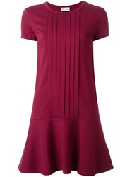 Red Valentino Pleated Front Dress Red