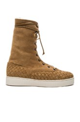 Bottega Veneta Suede Lace Up Boots In Brown