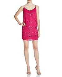 Laundry By Shelli Segal Beaded Chiffon Bodice Overlay Dress Vivid Pink