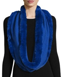 La Fiorentina Fur Trim Cashmere And Wool Infinity Scarf Cobalt