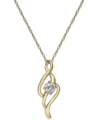 Macy's Cubic Zirconia Swirl Pendant Necklace In 10K Gold