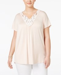 Ing Trendy Plus Size Crochet Trim Top Blush