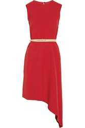 Victoria Beckham Belted Asymmetric Crepe Dress Red