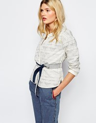 Sessun Quilted Jacket With Tie Waist In Stripe Santorin Cream