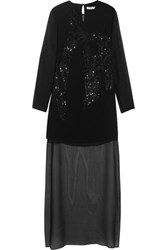 Halston Heritage Sequin Embellished Silk Chiffon Mini Dress Black