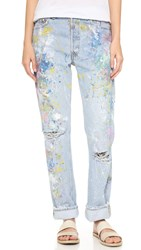 Rialto Jean Project Basic Distressed Boyfriend Jeans Extreme Rainbow Distressed
