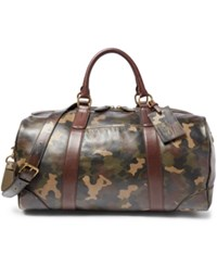 Polo Ralph Lauren Camouflage Print Leather Duffel Bag Camo Green