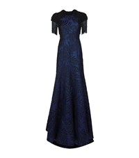 Andrew Gn Beaded Shoulder Brocade Gown Female Navy