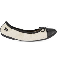 Butterfly Twist Olivia Quilted Ballet Flats Cream Black