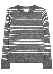 Dknypure Grey Striped Fine Knit Linen Blend Top Charcoal