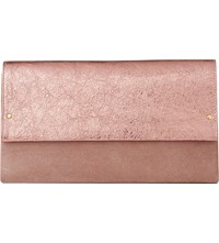 Lk Bennett Madeline Suede And Metallic Leather Clutch Bag Pin Metallic Pink