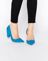 Asos Sapphire Wide Fit Pointed Heels Blue