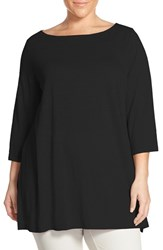 Plus Size Women's Eileen Fisher Organic Linen Jersey Bateau Neck Tunic Black