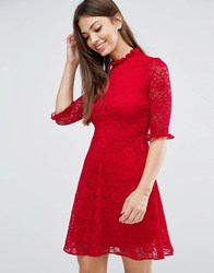 Asos Lace Skater Dress Bright Red