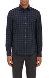 Hartford Men's Plaid Button Front Shirt Blue