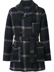 Engineered Garments Belted Check Coat Blue