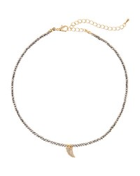 Panacea Pave Crystal Horn Choker Necklace Gray