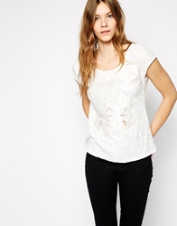Colorblock Color Block T Shirt With Cutwork Detail White