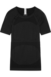 Adidas By Stella Mccartney Perforated Stretch Jersey T Shirt Black