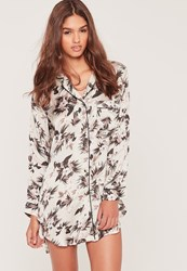 Missguided Hawaiian Night Print Shirt Grey
