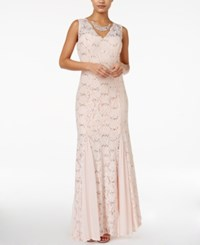 Jump Juniors' Lace Sequined Gown Blush
