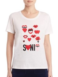 Sonia Rykiel Lips And Love Tee Ecru Scarlett
