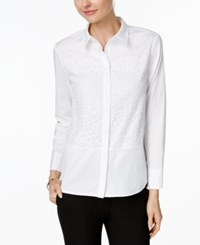 Charter Club Lace Inset Shirt Only At Macy's Bright White Combo