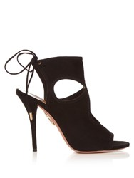 Aquazzura Sexy Thing Suede Sandals Black