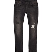 River Island Mensblack Washed Ronnie Skinny Cigarette Jeans