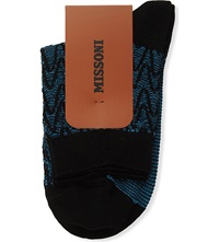 Missoni Metallic Zig Zag Socks 006 Blue