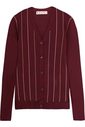 Marni Embroidered Striped Silk Blend Cardigan Burgundy