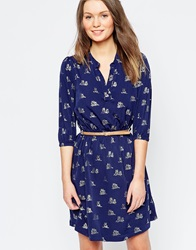 Yumi Belted Dress In Twin Owl Print Navy
