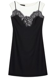 Boutique Moschino Ivory Lace Slip Print Dress Black And White