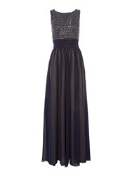 Js Collections Art Deco Beaded Bodice Gown Blue