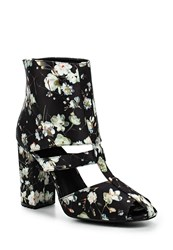 Lost Ink Denny Floral Block Heel Ankle Boots Multi Coloured Multi Coloured