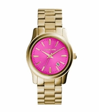 Michael Kors Runway Pink Dial Gold Tone Watch