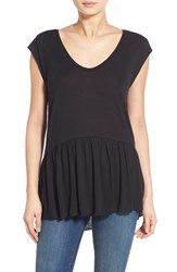 Women's Hinge Flutter Hem Cap Sleeve Top Black