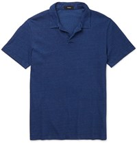 Theory Willem Slim Fit Open Collar Cotton Jersey Polo Shirt Blue