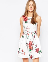 Closet Foral Bow Skater Dress White And Red
