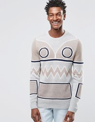 Asos Jumper With Graphic Face Design Grey